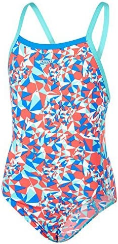 Speedo Girls Stellar Fire Allover Thinstrap Crossback Swimwear