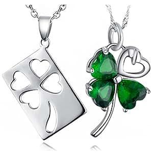 Infinite U Plata Esterlina 925 Circonita Cúbica Trébol de 4 hojas Colgante Collar para Parejas/Enamorados Regalo de San Valentín