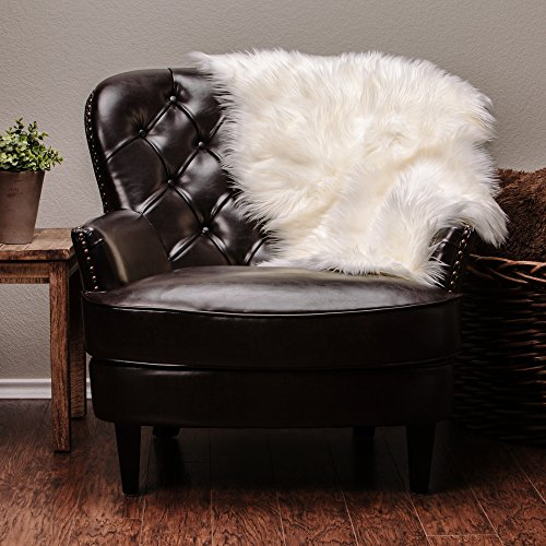 Chanasya Super Soft Faux Fur Fake Sheepskin White Sofa Couch Stool Casper Vanity Chair