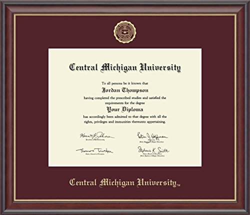 Church Hill Classics Central Michigan University Gold Embossed Diploma Frame - Features Solid Hardwood Studio Gold Moulding - Officially Licensed - 8.5