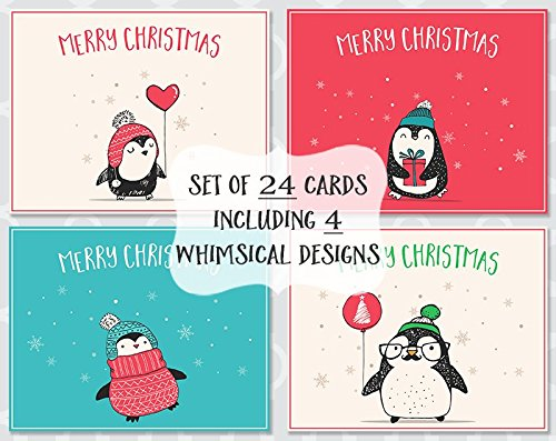 Whimsical Penguin (Penguin Christmas Cards, Variety of Whimsical Holiday Season Card, Prime, Adorable, Balloon, Sweater, Gift, Printed, 24 Printed, Assorted Folding Greeting Cards, Assortment Pack, CLEARANCE, SALE)