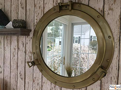 """20"""" Porthole Mirror ~ Antique Brass Finish ~ Large Nautical Cabin Wall Decor for Home Decor Collection"""