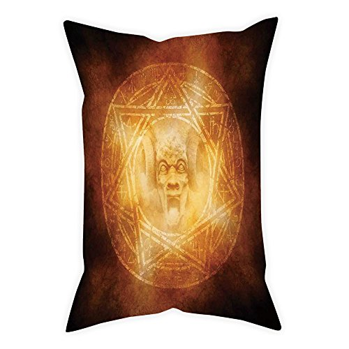 iPrint Satin Throw Pillow Cushion Cover,Horror House Decor,Demon Trap Symbol Logo Ceremony Creepy Ritual Fantasy Paranormal Design,Orange,Decorative Square Accent Pillow Case by iPrint