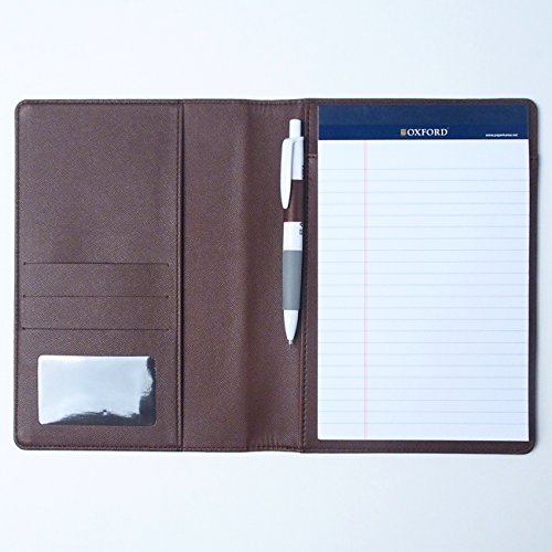 A5 Vivid Synthetic Leather Memo Padfolio With Pencil, Handmade 6.3 X 8.66 Inch Folder Clipboard Writing Pad (brown)