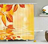 Burnt Orange Curtains Burnt Orange Decor Shower Curtain Set By Ambesonne, Autumn Maple Leaves Shadow On The Water With Mystic Magical Sun View Sadness Art, Bathroom Accessories, 69W X 70L Inches, Golden Orange