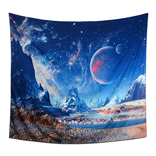Tapestry Wall Hanging, Vintage 3D Planet with Earth Moon and Mountains Tapestry Creative Universe Galaxy Psychedelic Tapestries for Home Decor Bedroom Dorm Room 59