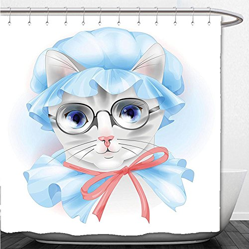 Beshowere Shower Curtain Cat Lover Decor Collection Granny Grandma Old Kitty with Her Old-Fashioned Pyjamas and Reading Glasses Artsy Blue Pink - Glasses Reading Francisco San