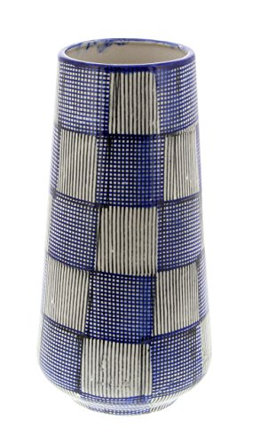 Deco 79 62183 Ceramic Plaid Checkered Vase, 13