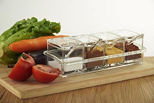 Gewürzdosen Premium 4 Gewürze Gewürzglas mit Löffel Gewürzstreuer Gewürz-Box Gewürzkasten Gewürz-Flasche