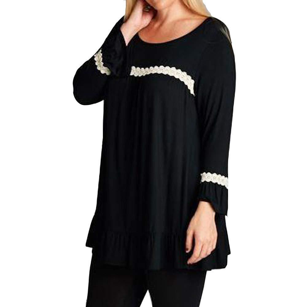 Makeupstore Women's Down Coats Parkas, Womens Tops and Blouses Plus Size, Women Ladies Long Sleeve Lace Ruffle Casual Tops T-Shirt Loose Blouse (Black, 5XL)