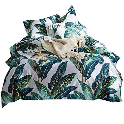 AMWAN Luxury Leaves Duvet Cover Set Queen Soft Egyptian Cotton Bedding Set Full 3 Piece Vintage Floral Duvet Comforter Cover Set for Girls Teens Woman 1 Duvet Cover with 2 Pillowcases Queen Bed Set