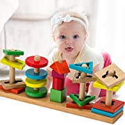 Biubee 20 Pcs Wooden Education Shape Color Recognition Toys- Geometric Sorting Board Blocks for Preschool Baby Toddlers