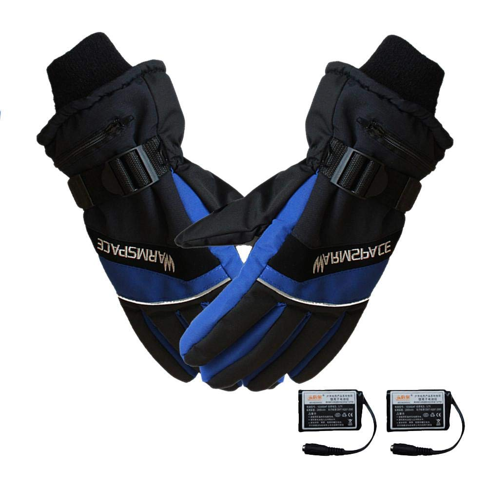 Nrkin Electric Thermal Gloves,Winter Ski Rechargeable Battery Heated Full Fingers Gloves Cycling Motorcycle Bicycle Smart Gloves
