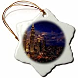 3dRose Cities Of The World - Petronas Twin Towers In Kuala Lumpur, Malaysia - 3 inch Snowflake Porcelain Ornament (orn_268654_1)