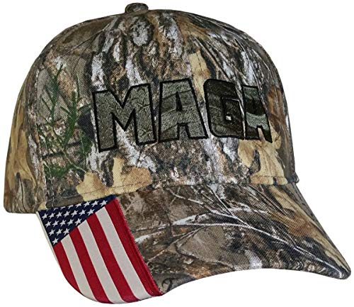 MAGA Hat ~ Realtree (Licensed) Camo w/American Flag on Bill (MAGA USA-Flag Realtree/ArmyGreen)