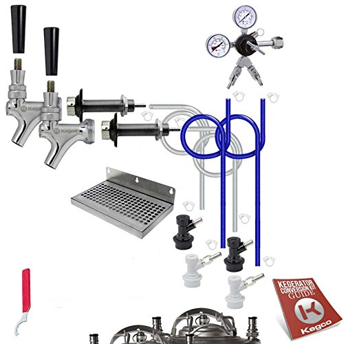 Kegco BF DHCK2 Deluxe Two Faucet Homebrew Kegerator Conversion Kit, Stainless Steel (Kegerator Kit Dual Tap compare prices)