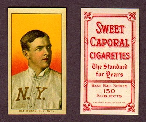 Baseball T206 Sweet Caporal (Christy Mathewson 1909 T-206 Reprint Baseball Card with Sweet Caporal Back (In it own plastic case) (Giants))