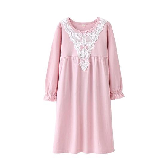 Amazon.com: Girls\' Long Sleeve Sleep Shirts Cotton Princess ...