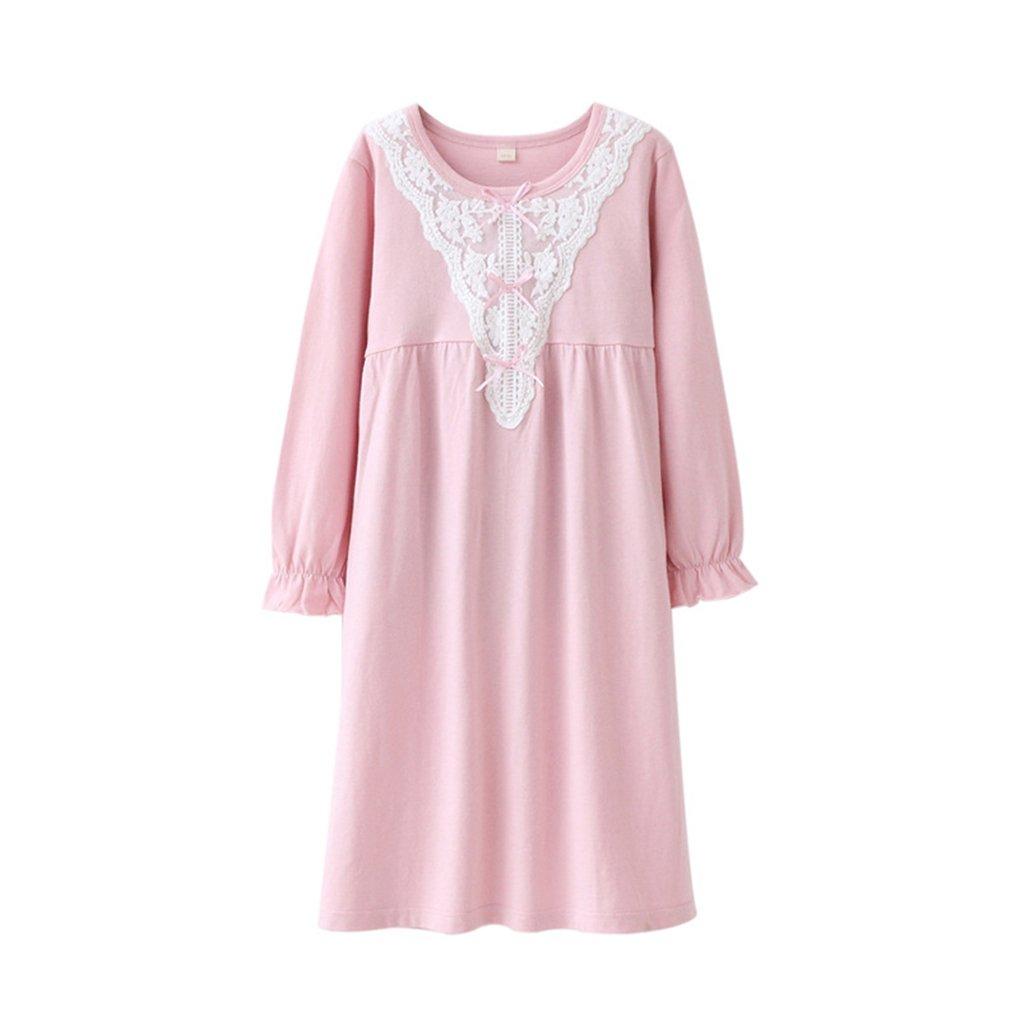 Girls' Long Sleeve Sleep Shirts Cotton Princess Nightgowns Sleepwear Dress
