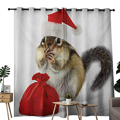 NUOMANAN Blackout Curtains 2 Panels Christmas,Chipmunk in Red Santa Claus Hat and Bag with Surprise Xmas Presents,Pale Yellow White Red,for Room Darkening Panels for Living Room, Bedroom 54