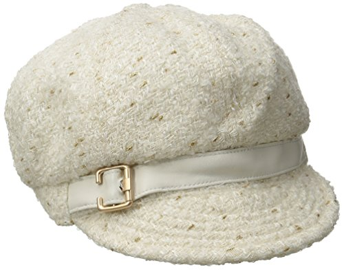 Nine West Women's Novelty Metallic Newsgirl Hat, Ivory, One Size