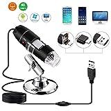 TECHVIDA 40 a 1000x Endoscopio de Aumento, 2MP 8 LED USB 2.0 Microscopios Digital, Mini Cámara con Adaptador OTG y Soporte de Metal, Compatible con Mac Window 7 8 10 Android Linux