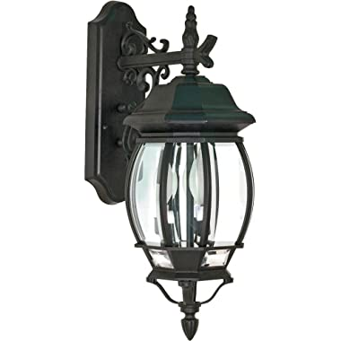 Nuvo 60/893 Textured Arm Down, Wall Lantern with Clear Beveled Panels, Textured Black, Large