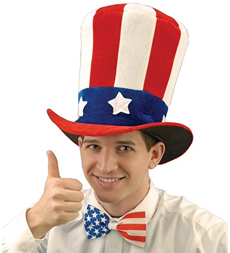 Forum Novelties Men's Uncle Sam Velvet Novelty Adult Top Hat, Multi, One - Hat Day Independence