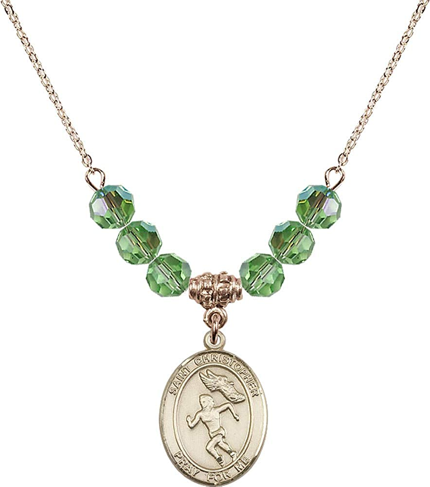 Bonyak Jewelry 18 Inch Hamilton Gold Plated Necklace w// 6mm Green August Birth Month Stone Beads /& Saint Christopher//Track/&Field-Women