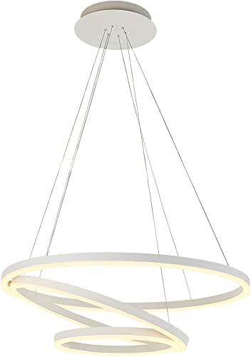 ROYAL PEARL Modern Circular Acrylic Chandelier Adjustable Three Ring Contemporary Ceiling Pendant Light