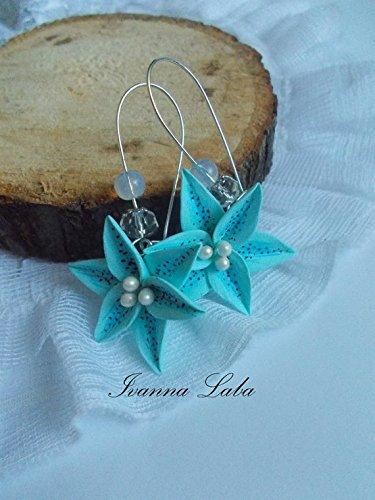 orchid flower earrings,blue orchid, brown orchid wild flowers, cute earrings, stylish earrings, handmade, gift earrings Wildflower Chandelier