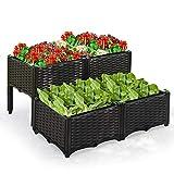 LYNSLIM Set of 4 Plastic Elevated Planter Box Kit