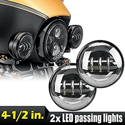 "4-1/2"" 4.5 inch LED Passing Light for Harley Davidson Fog Lights Auxiliary Lamp Bulb Motorcycle Projector Spot Driving Lamp Headlight Black: Automotive"