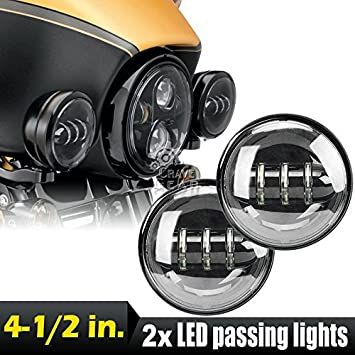 SUNPIE 4.5 Inch 30W Black LED Fog Lights Projector Auxiliary Headlight Motorcycle Passing Fog Light Lamps For Harley Davidson Pack of 2