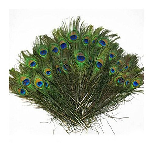 (Herebuy8 50pcs Real Natural Peacock Tail Eyes Feathers Perfect for Wedding Party Arts And Crafts Home Decorations DIY)