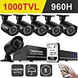 ISEEUSEE 960H 8Channel DVR Home Security Camera Surveillance System With HDMI Ouput Pre-install 1TB Hard Disk And 6pcs 1000 TV line Outdoor/Indoor Night Vision Cameras