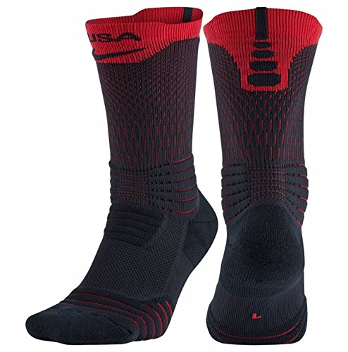 Nike Elite Versatility USA Basketball Crew Socks (475 Dark Obsidian/University Red, X-Large) (Elite Nike Usa Socks)