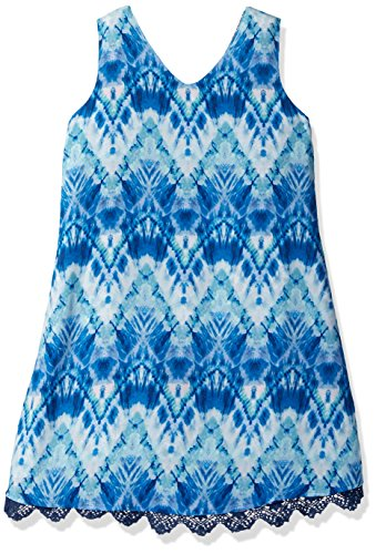 Amy Byer Big Girls' Double V-Neck Reversible Print Dress, Color Multi, 10