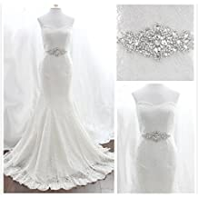 TRLYC White Ribbon Sash Wedding Dress Belt Bridal Belt Sash Belt Pearls Belt Rhinestone Belt Crystal Belt Rhinestones And Pearls Sash Wedding Sash Dress Sash