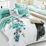 Pale Turquoise Floral and Bird Print Bedding Sets Queen Size 100% Cotton Bed Sheets Blooms Duvet Cover Set Bed in a Bag 4pcs