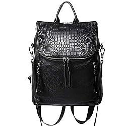 Genuine Leather Women Backpack Purse Fashion Large Designer Travel Ladies Shoulder Bag With Crocodile Flap Black
