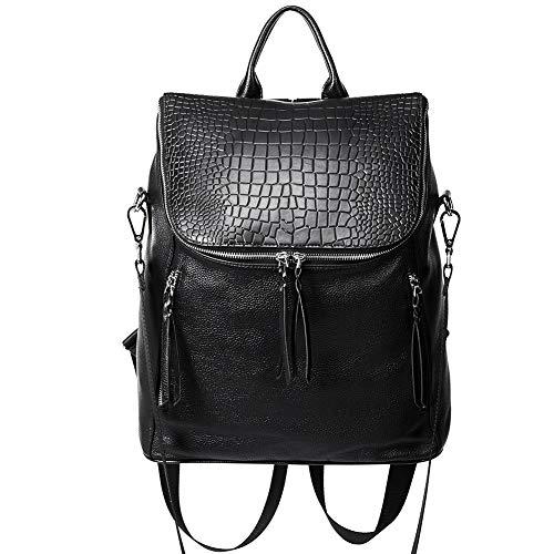 Bag Shoulder Flap Genuine Black Leather - Genuine Leather Women Backpack Purse Fashion Large Designer Travel Ladies Shoulder Bag with Crocodile Flap Black