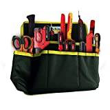 all accesories - Tool Belt Pouch Bag for Electricians Contractors Painters with Clip, Multi Pockets, Small Compartments Electrical Job Supplies Holster Storage Organizer and Divider w/ Velcro Strap By All Use
