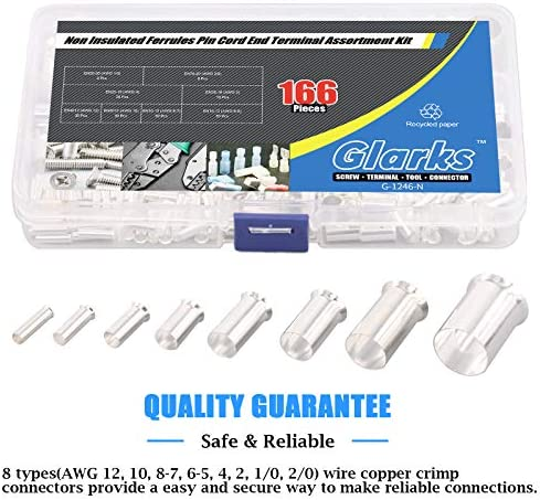 Glarks 166Pcs 8 Sizes AWG 12 10 8 6 4 2 1 2/0 Wire Ferrules Kit Silver Plated Copper Crimp Connector Non Insulated Ferrules Pin Cord End Terminals Assortment Kit