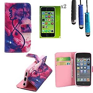 QYF Flame Pattern PU Leather Cover with Card Slot with Touch Pen and Protective Film 2 Pcs for iPhone 5C