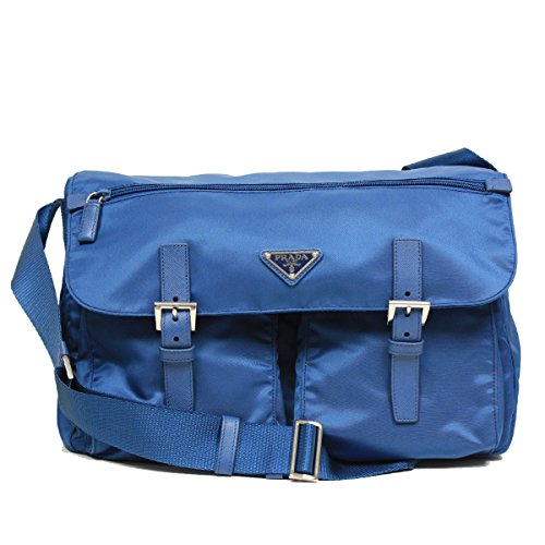 Prada Large Blue Tessuto Pattina Nylon Leather Cross Body Messenger Bag BT1738 (Tessuto Messenger Prada)