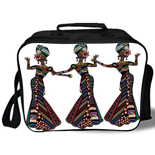 Insulated Lunch Bag,African Woman,Young Women in Stylish Native Costumes Carnival Festival Theme Dance Moves Decorative,Multicolor,for Work/School/Picnic, Grey -