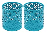 EasyPAG 2pc Round Floral Pencil Holder Desk Stationery Organizer Teal Deal (Small Image)