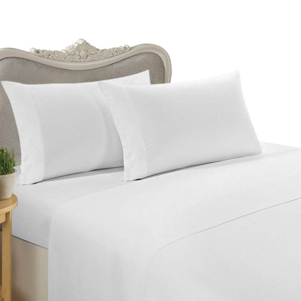 Mandarin Hotel Collection Presents Authentic Heavy Quality 4-Piece Sheet Set Luxurious Egyptian Cotton 1500 Thread Count, Fits 12-16'' Inch Deep Pockets Solid Pattern (Queen, White)