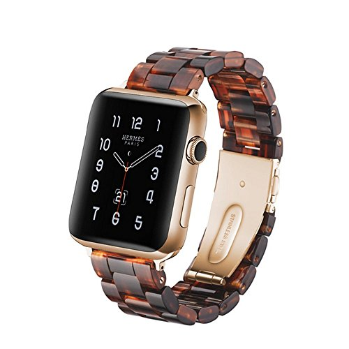 (Herbstze for Apple Watch Band 38mm/40mm, Fashion Resin iWatch Band Bracelet with Metal Stainless Steel Buckle for Apple Watch Series 4 Series 3 Series 2 Series 1 (Tortoise-Tone))